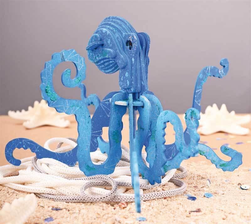 Houten bouwset - octopus, 22,4 x 20 x 12,3 cm