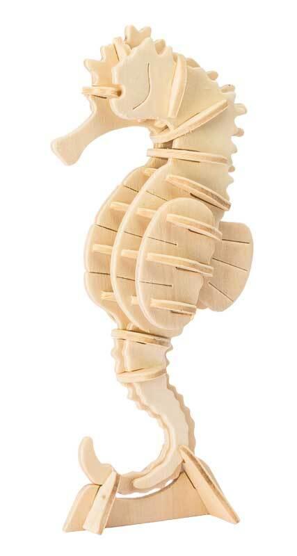 Holzbausatz Seepferdchen, 7 x 4,7 x 15,8 cm