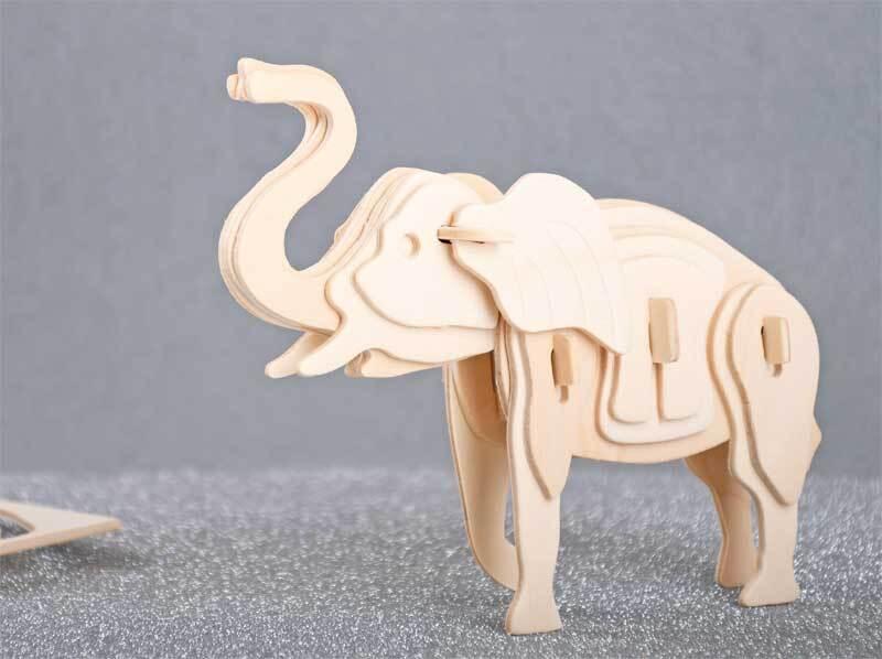 Houten bouwset - olifant, 17 x 6 x 13 cm