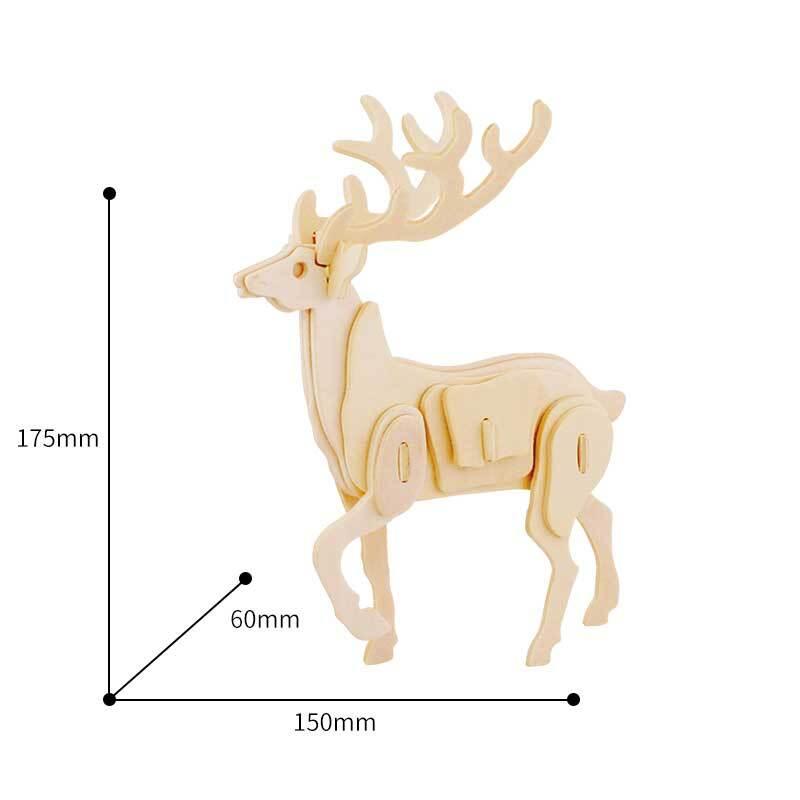 Houten bouwset - hert, 15 x 6 x 17,5 cm