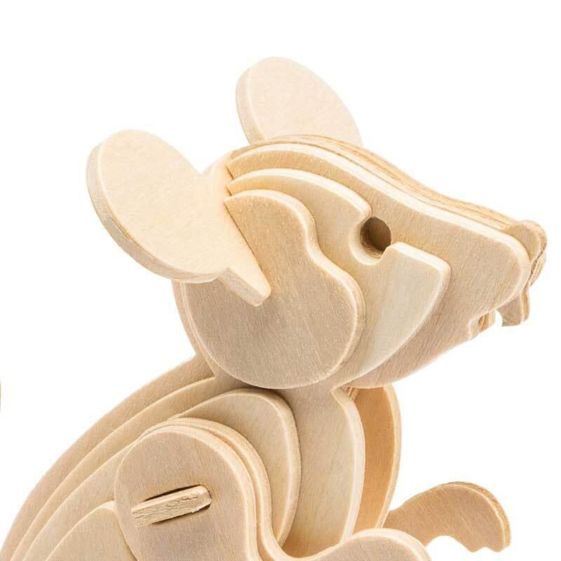 Holzbausatz Maus, 11,5 x 6,5 x 12,5 cm