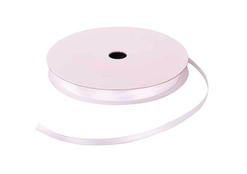 Satinband mit Webkante - 3 mm, weiß