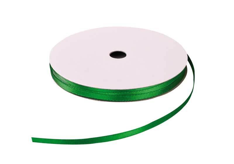 Rubans satin avec lisière - 3 mm, vert