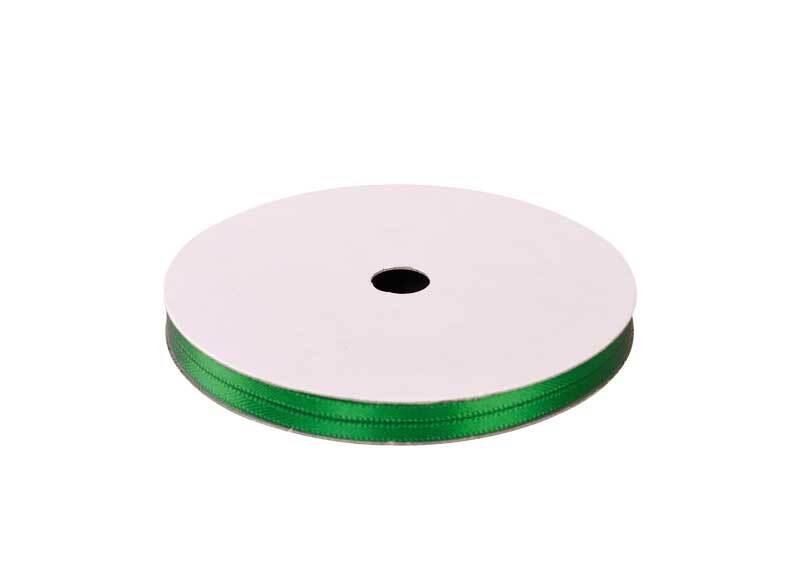 Satinband mit Webkante - 3 mm, grün
