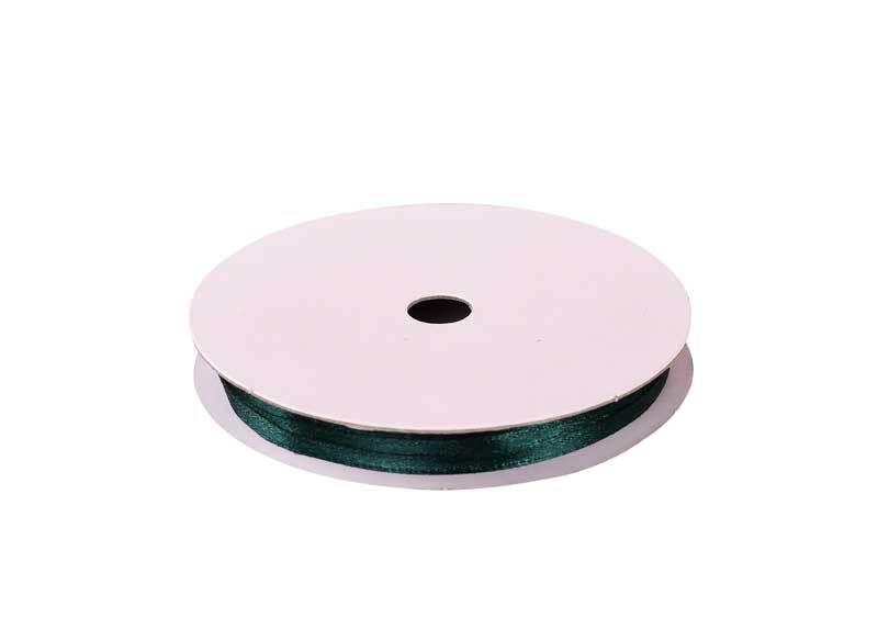 Satinband mit Webkante - 3 mm, dunkelgrün