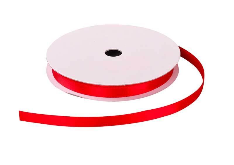 Satijnlint met zelfkant - 6 mm, rood
