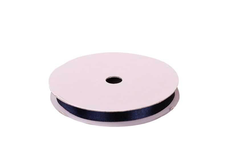 Rubans satin avec lisière - 6 mm, marine