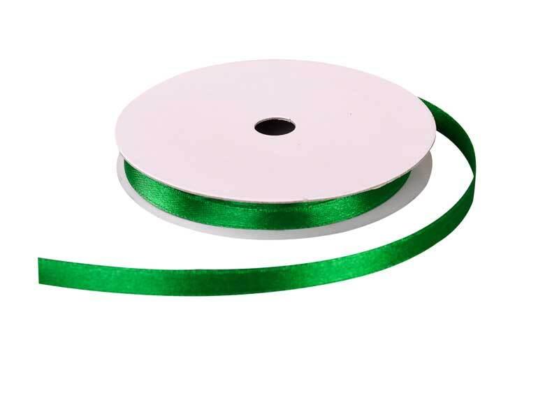 Satinband mit Webkante - 6 mm, grün