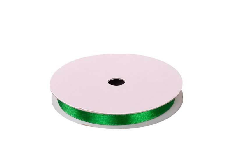 Satijnlint met zelfkant - 6 mm, groen