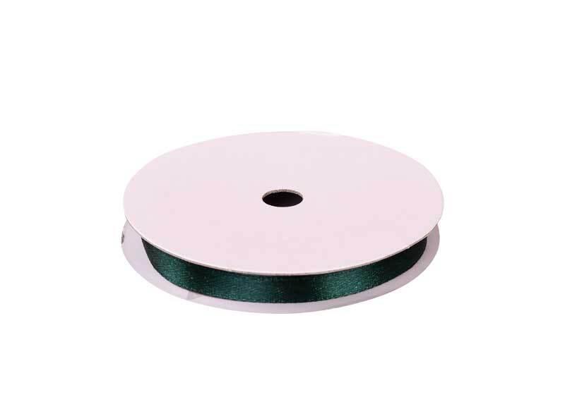 Satinband mit Webkante - 6 mm, dunkelgrün