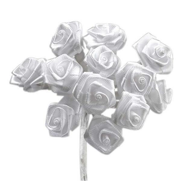 Satijnen roosjes - 12 st., wit