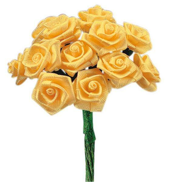 Satijnen roosjes - 12 st., geel
