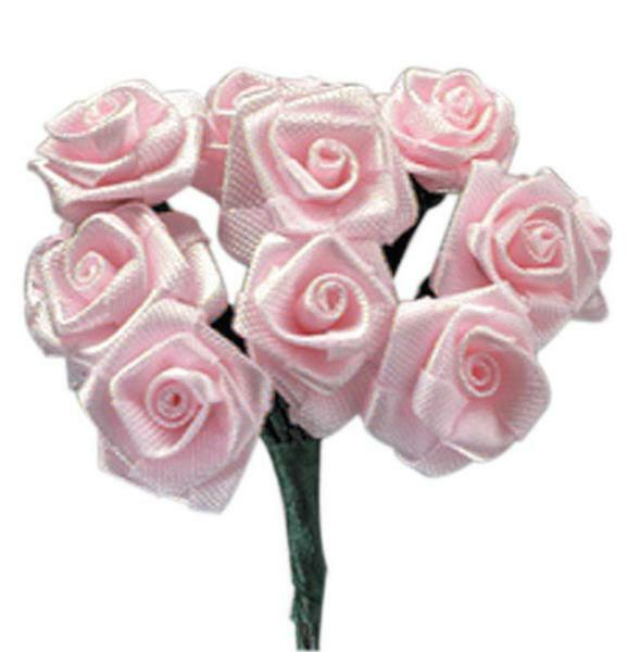 Roses en satin - 12 pces, rose