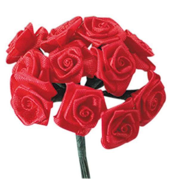 Satijnen roosjes - 12 st., rood