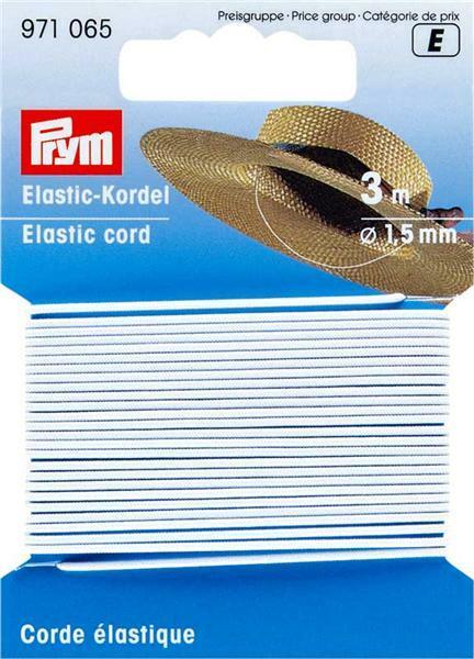 Elastic Kordel - Ø 1,5 mm, weiß, 3 lfm
