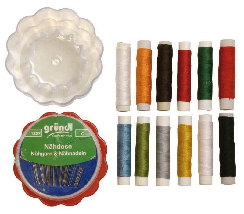 Nähgarnset inkl. Nadeln - 12 Farben