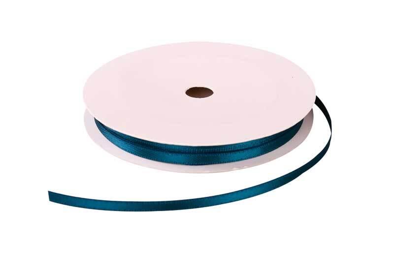 Satijnlint met zelfkant - 3 mm, petrol