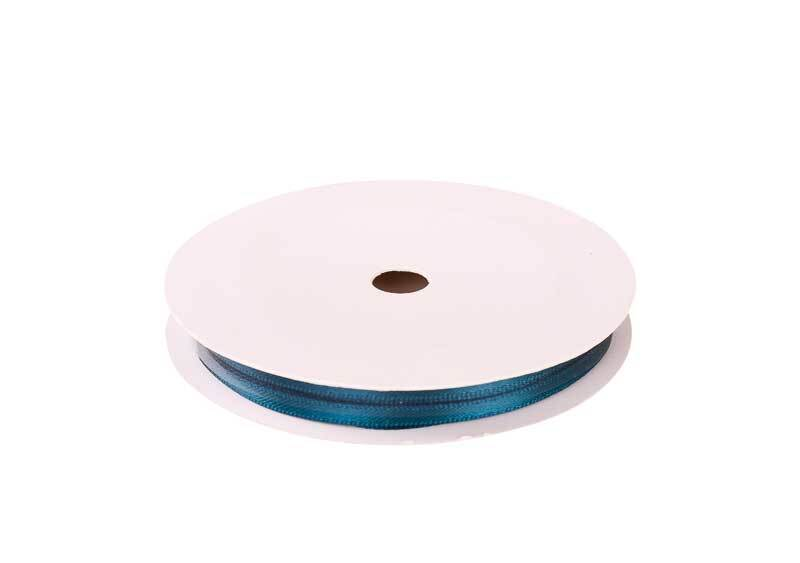 Satinband mit Webkante - 3 mm, petrol