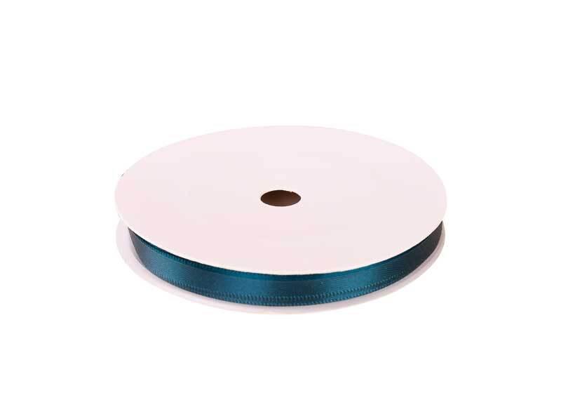 Satijnlint met zelfkant - 6 mm, petrol