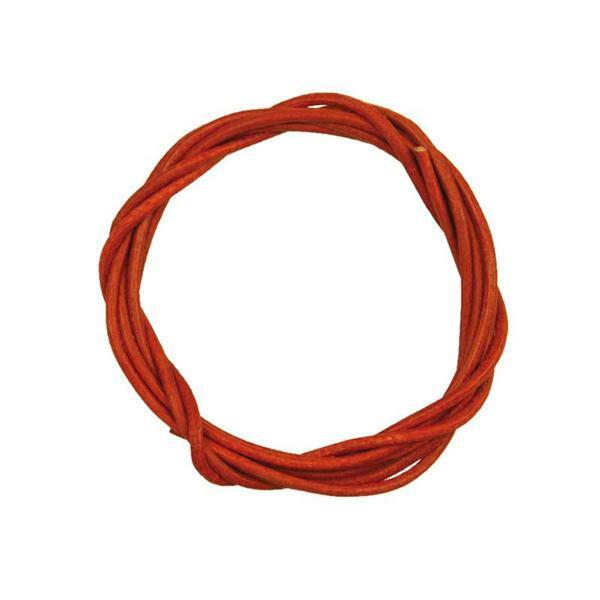 Lanière en cuir ronde - env. Ø 1,5 mm, rouge