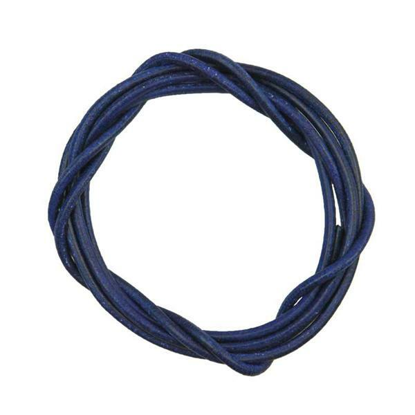 Ronde leren veters - ca. Ø 2 mm, blauw