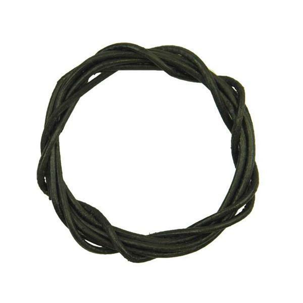 Ronde leren veters - ca. Ø 2 mm, zwart