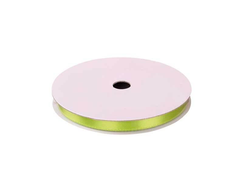 Satijnlint met zelfkant - 6 mm, lichtgroen
