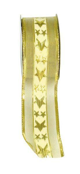 Band Sterne mit Webkante - 38 mm, gold