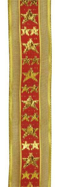 Dekoband sterren met weefkant - 38 mm, goud & rood