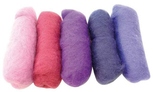 Sprookjeswol - gemengd pakket 100 g, lila tinten