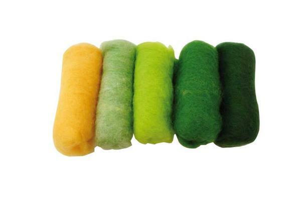 Laine cardée - 100 g, assort. tons verts