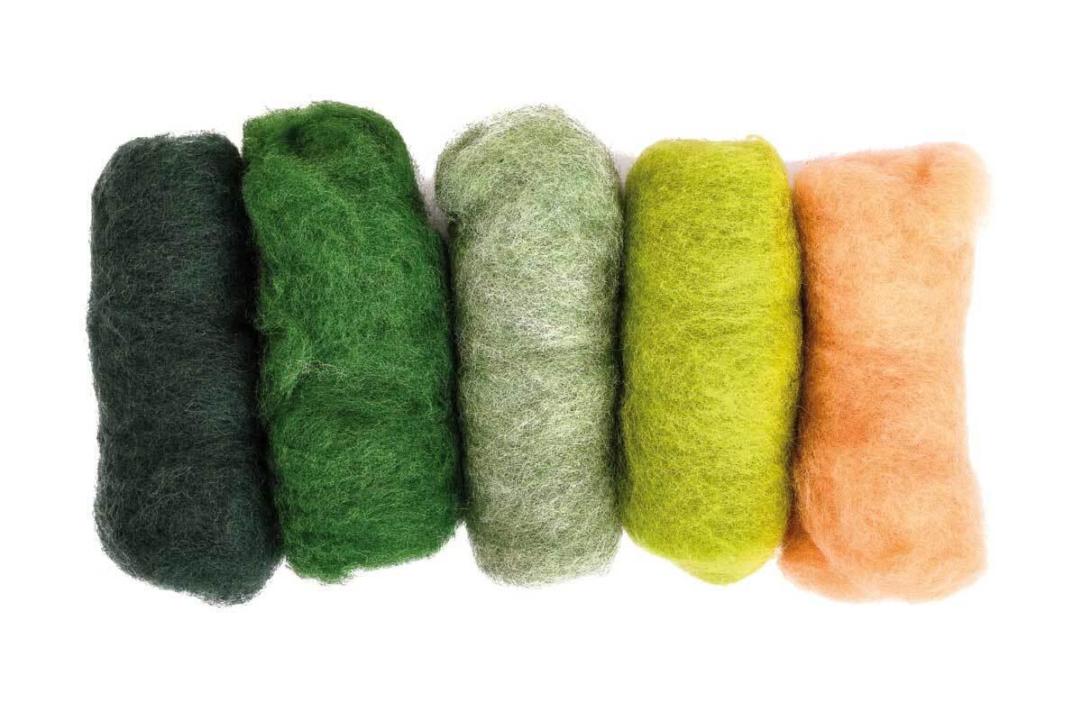 Sprookjeswol - gemengd pakket 100 g, groene tinten