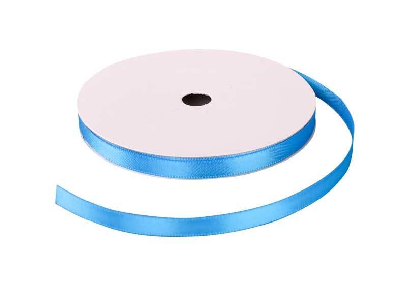 Satijnlint met zelfkant - 6 mm, lichtblauw