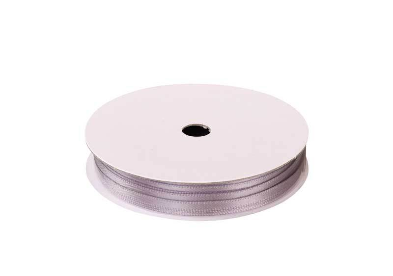 Rubans satin avec lisière - 3 mm, argent