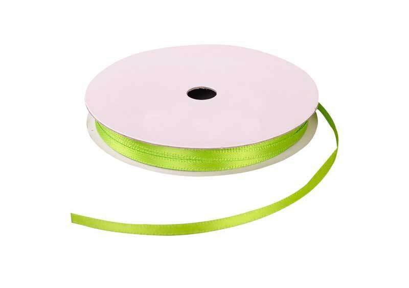 Rubans satin avec lisière - 3 mm, vert clair