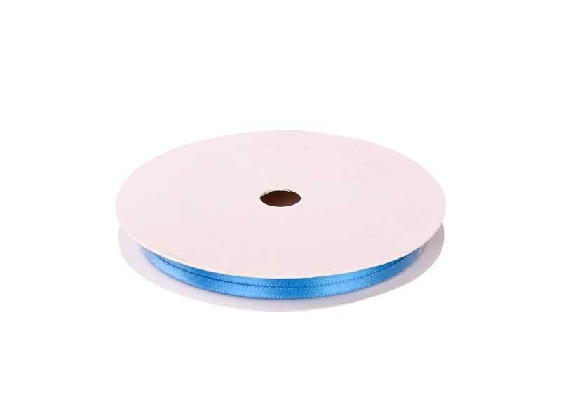 Satijnlint met zelfkant - 3 mm, lichtblauw