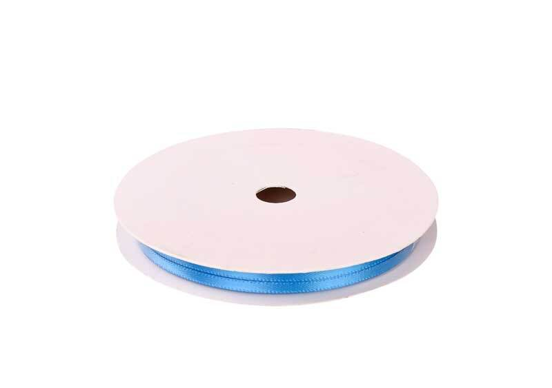 Satinband mit Webkante - 3 mm, hellblau