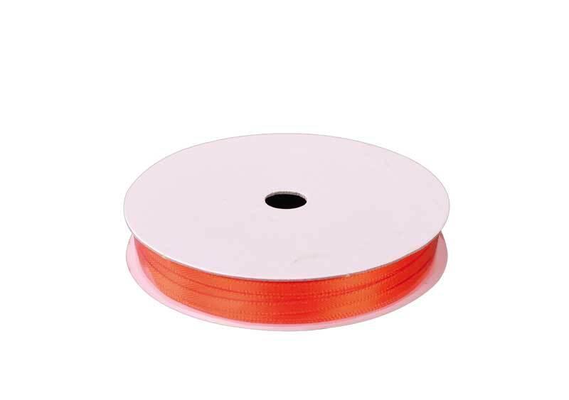 Rubans satin avec lisière - 3 mm, orange