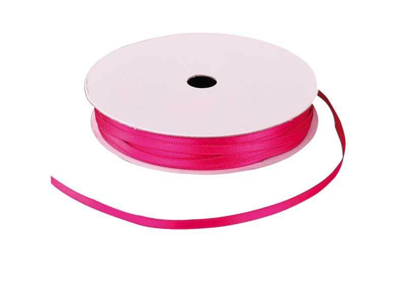Rubans satin avec lisière - 3 mm, pink