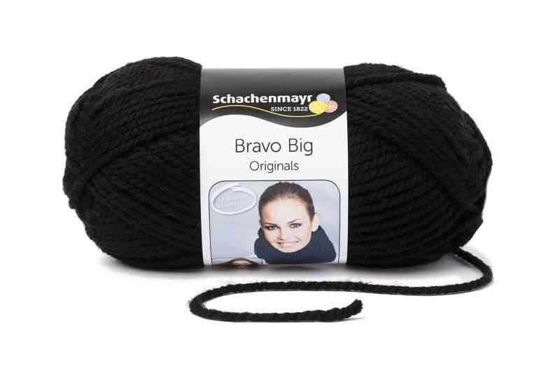 Wolle Bravo Big - 200 g, schwarz