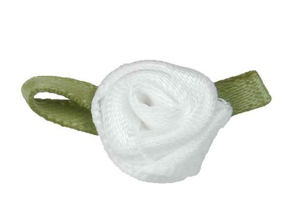 Satijnen roosjes - klein, wit
