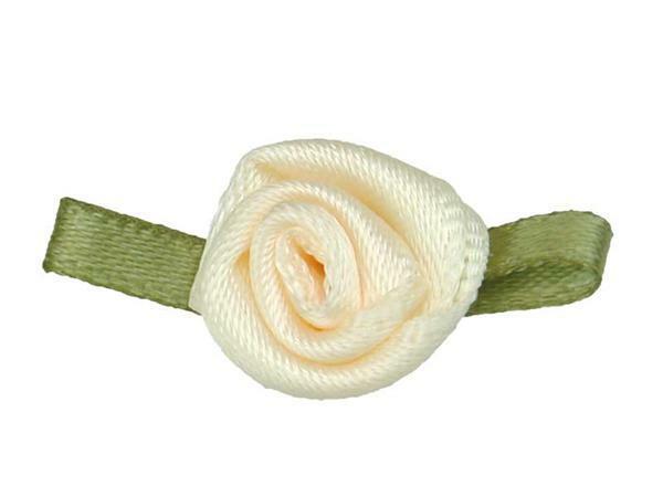 Roses en satin - petit, crème