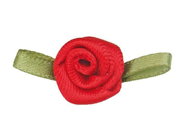 Satijnen roosjes - klein, rood