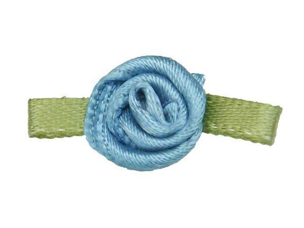 Satijnen roosjes - klein, blauw