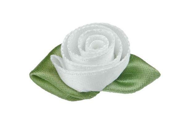Satijnen roosjes - groot, wit