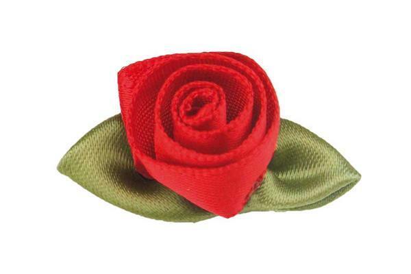 Satijnen roosjes - groot, rood