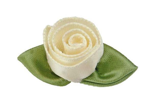 Satijnen roosjes - groot, crème