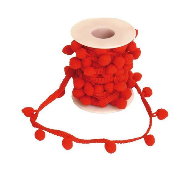 Decoratief pomponlint, rood