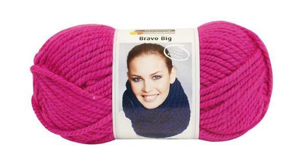 Wol Bravo Big - 200 g, zuurstokroze