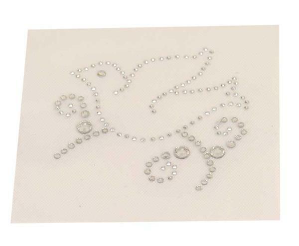 Strass steen motief - vogel, ca. 6 cm